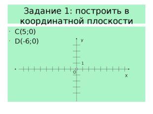 Задание 1: построить в координатной плоскости точки С(5;0) D(-6;0) Х О У 1