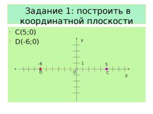 Задание 1: построить в координатной плоскости точки С(5;0) D(-6;0) Х О У 1 D