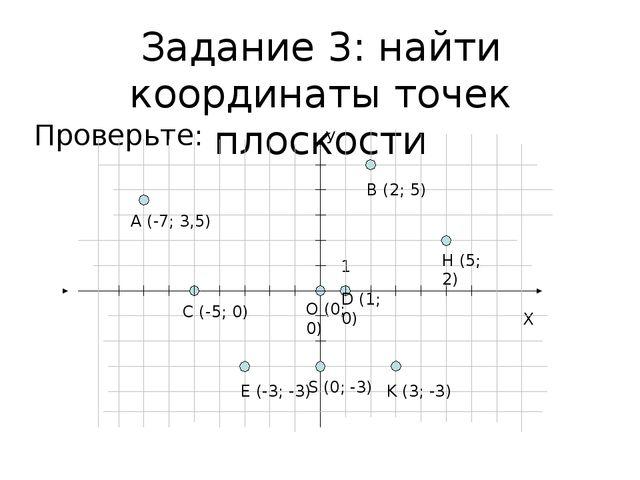 Задание 3: найти координаты точек плоскости Проверьте: Х О (0; 0) У 1 А (-7;...