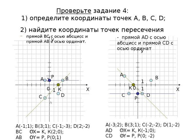 Проверьте задание 4: 1) определите координаты точек А, В, С, D; 2) найдите ко...