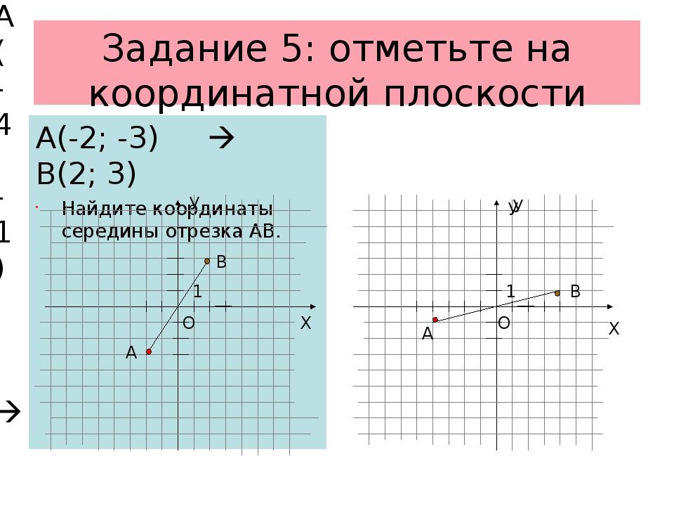 Задание 5: отметьте на координатной плоскости А(-2; -3)  В(2; 3) Найдите коо...