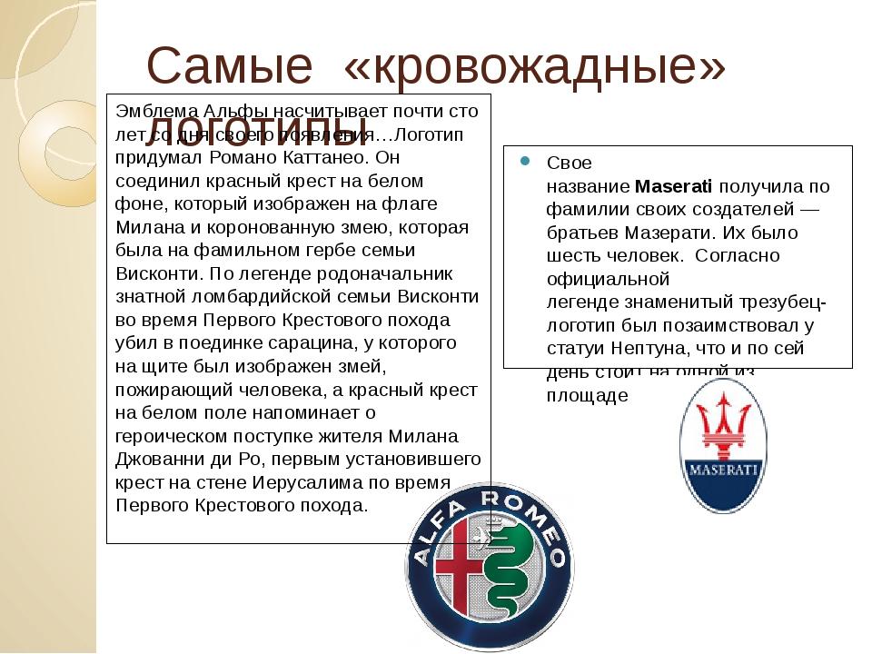 Самые «кровожадные» логотипы Свое названиеMaseratiполучила по фамилии своих...
