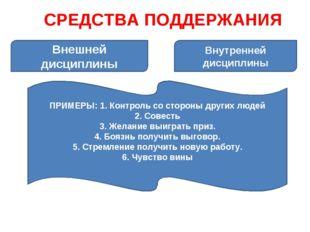 СРЕДСТВА ПОДДЕРЖАНИЯ Внешней дисциплины Внутренней дисциплины ПРИМЕРЫ: 1. Кон