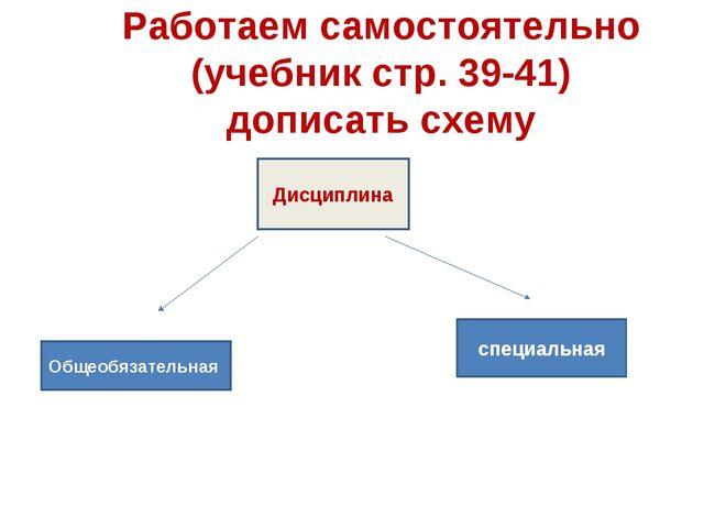 Работаем самостоятельно (учебник стр. 39-41) дописать схему Дисциплина Общеоб...