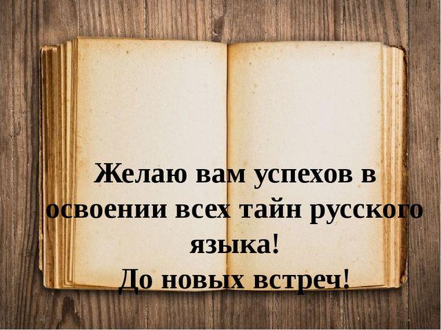 Желаю вам успехов в освоении всех тайн русского языка! До новых встреч!