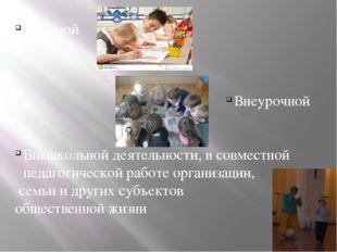 Урочной Внеурочной Внешкольной деятельности, в совместной педагогической раб