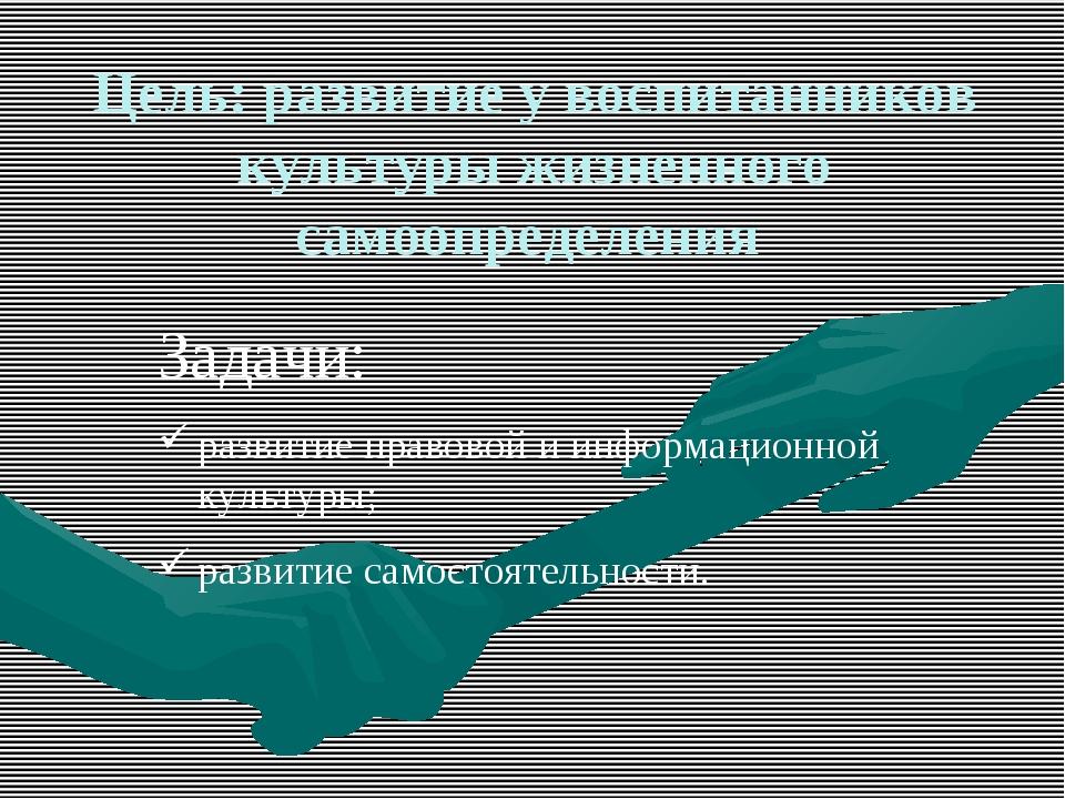 Цель: развитие у воспитанников культуры жизненного самоопределения Задачи: ра...