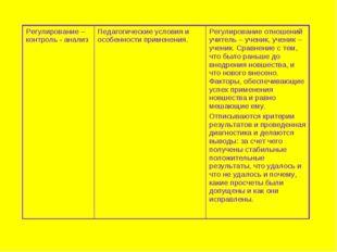 Регулирование –контроль - анализПедагогические условия и особенности примене