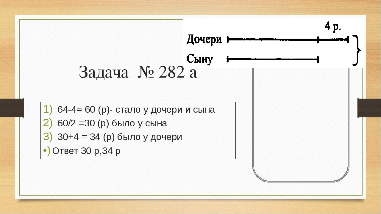 Задача № 282 а 64-4= 60 (р)- стало у дочери и сына 60/2 =30 (р) было у сына 3...