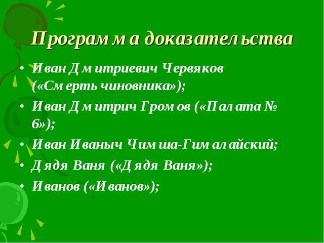 Программа доказательства Иван Дмитриевич Червяков («Смерть чиновника»); Иван...