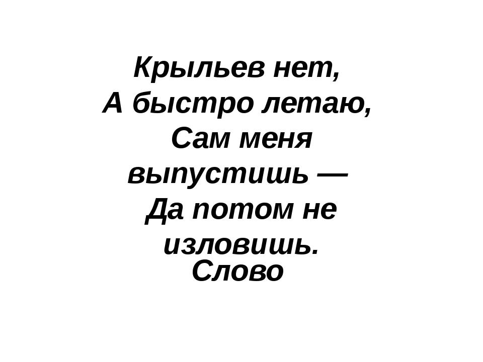 Слово Крыльев нет, А быстро летаю, Сам меня выпустишь — Да потом не излови...