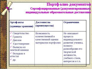 Портфолио документов Сертифицированные (документированные) индивидуальные обр