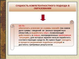 ЦЕЛЬ: обеспечить усвоение не «суммы знаний» (на самом деле суммы сведений из