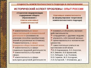 ИСТОРИЧЕСКИЙ АСПЕКТ ПРОБЛЕМЫ: ОПЫТ РОССИИ «Стратегия модернизации содержания