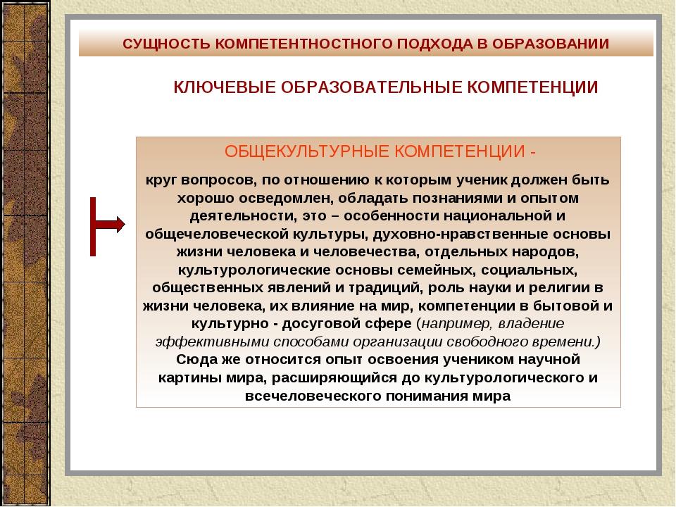 СУЩНОСТЬ КОМПЕТЕНТНОСТНОГО ПОДХОДА В ОБРАЗОВАНИИ КЛЮЧЕВЫЕ ОБРАЗОВАТЕЛЬНЫЕ КОМ...