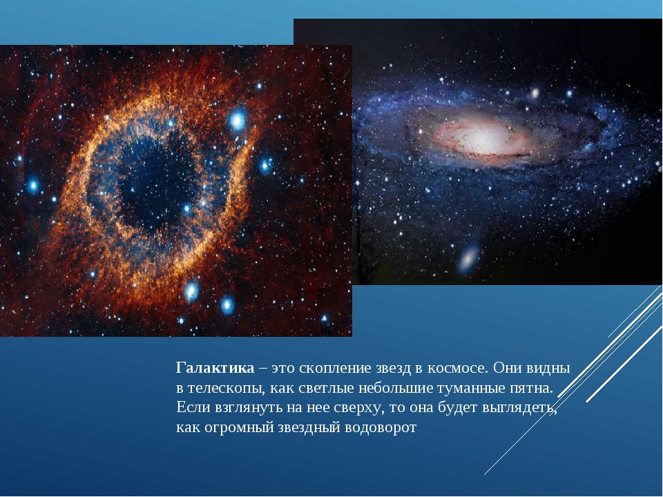 Галактика – это скопление звезд в космосе. Они видны в телескопы, как светлые...