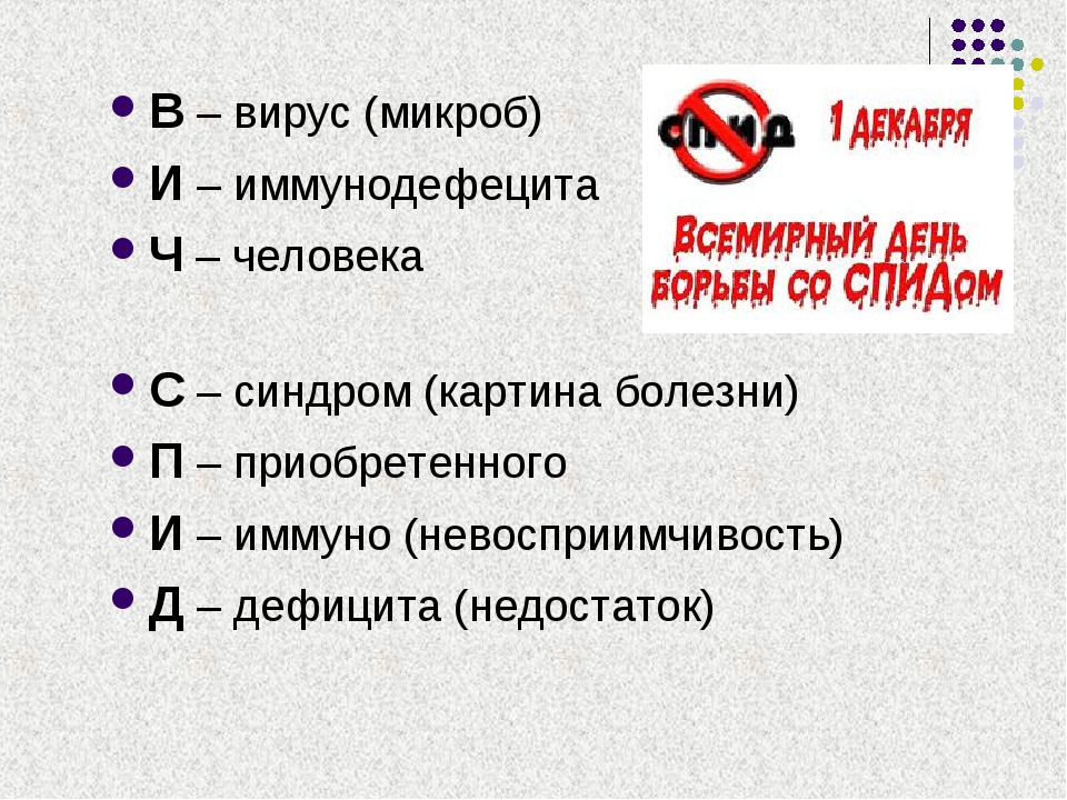 В – вирус (микроб) И – иммунодефецита Ч – человека С – синдром (картина болез...