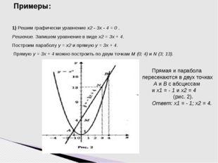 Примеры: 1) Решим графически уравнение х2 - 3х - 4 = 0 . Решение. Запишем ура