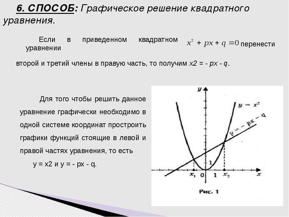 Если в приведенном квадратном уравнении второй и третий члены в правую часть,...