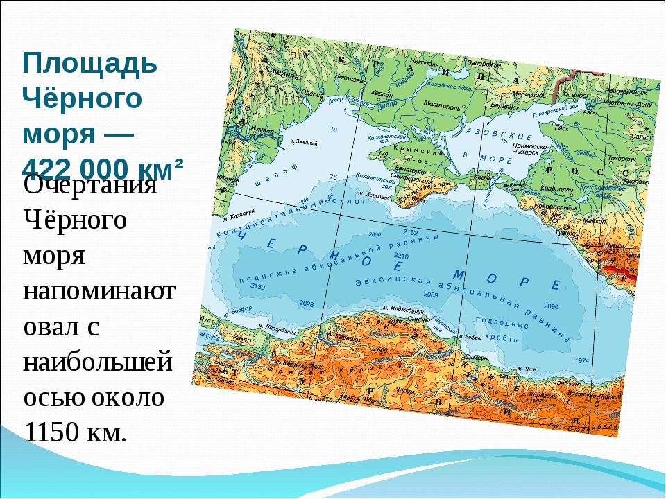 Площадь Чёрного моря— 422 000 км² Очертания Чёрного моря напоминают овал с н...