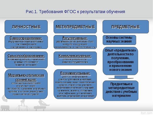Рис.1. Требования ФГОС к результатам обучения