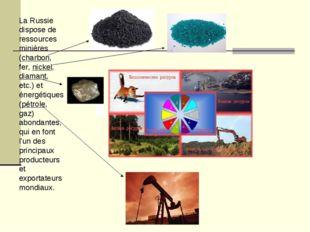La Russie dispose de ressources minières (charbon, fer, nickel, diamant, etc.