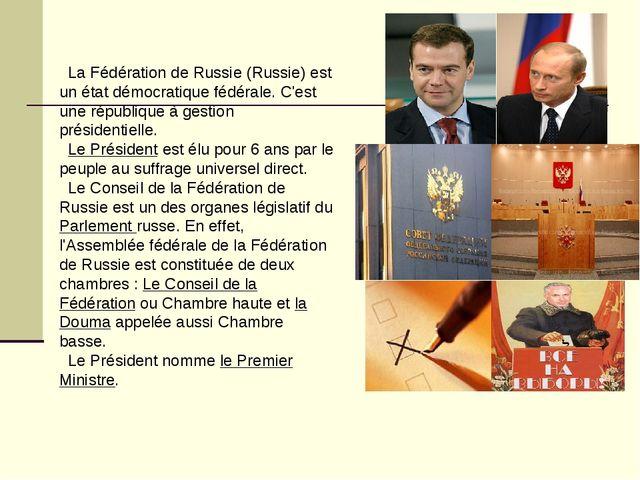 La Fédération de Russie (Russie) est un état démocratique fédérale. C'est un...