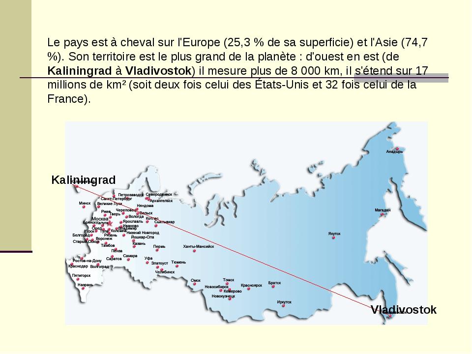 Le pays est à cheval sur l'Europe (25,3 % de sa superficie) et l'Asie (74,7 %...