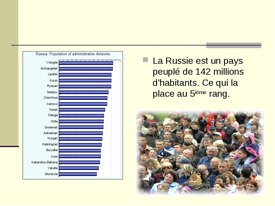 La Russie est un pays peuplé de 142 millions d'habitants. Ce qui la place au...