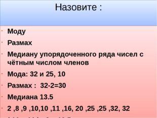 Назовите : Моду Размах Медиану упорядоченного ряда чисел с чётным числом член
