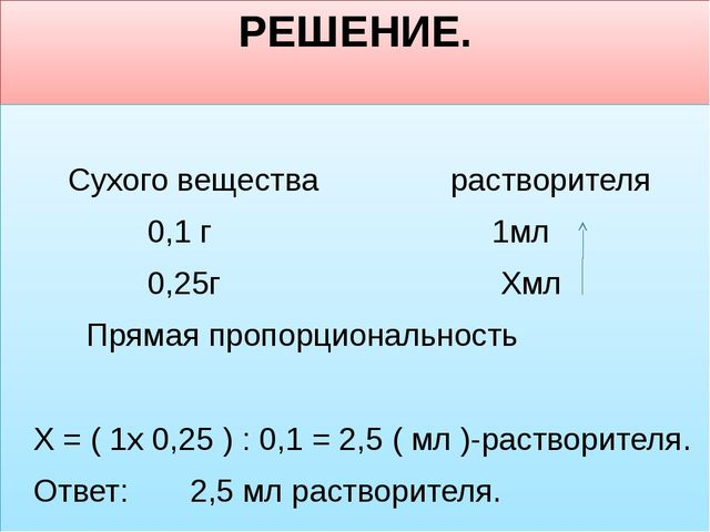 РЕШЕНИЕ. Сухого вещества растворителя 0,1 г 1мл 0,25г  Хмл Прямая пропорцион...