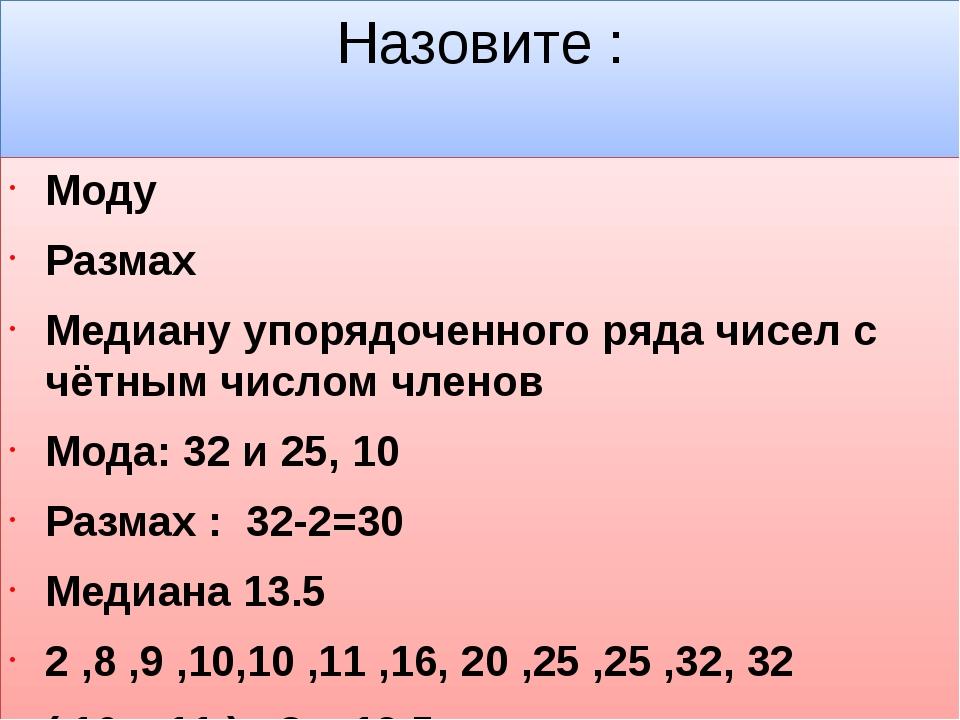Назовите : Моду Размах Медиану упорядоченного ряда чисел с чётным числом член...