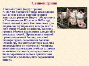 Свиной грипп (вирус гриппа А(H1N1)) появился также неожиданно как в своё вре