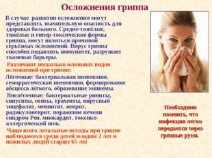 Осложнения гриппа В случае развития осложнения могут представлять значительну
