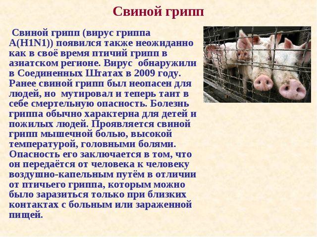 Свиной грипп (вирус гриппа А(H1N1)) появился также неожиданно как в своё вре...
