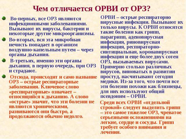 Чем отличается ОРВИ от ОРЗ? Во-первых, все ОРЗ являются инфекционными заболев...