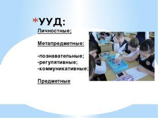 УУД: Личностные; Метапредметные: -познавательные; -регулятивные; -коммуникати