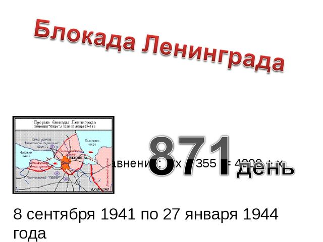 Задача 4. Решите уравнение: 6х – 355 = 4000 + х 8 сентября 1941 по 27 января...