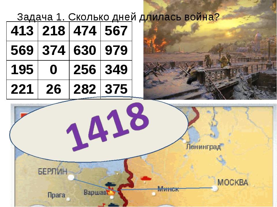 Задача 1. Сколько дней длилась война? 413218474567 569374630979 19502...
