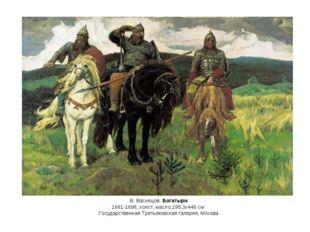 В. Васнецов. Богатыри 1881-1898, холст, масло,295,3x446 см Государственная Тр