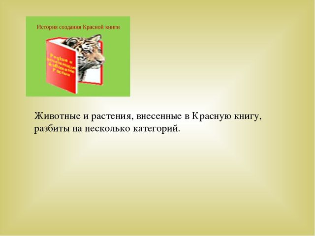Животные и растения, внесенные в Красную книгу, разбиты на несколько категорий.