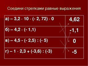 Соедини стрелками равные выражения а) – 3,2 · 10 · (- 2, 72) · 0 4,62 б) – 4