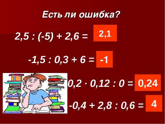 Есть ли ошибка? -1,5 : 0,3 + 6 = 2,5 : (-5) + 2,6 = 0,2 · 0,12 : 0 = 2,1 -1 0...