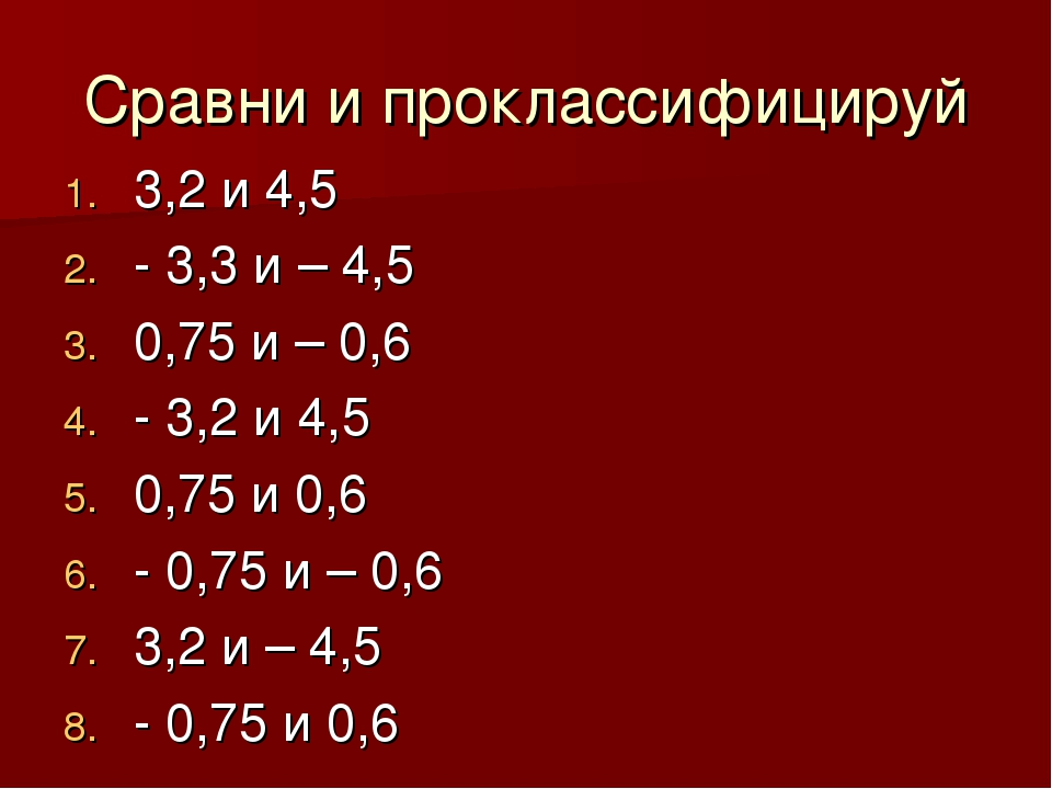 Сравни и проклассифицируй 3,2 и 4,5 - 3,3 и – 4,5 0,75 и – 0,6 - 3,2 и 4,5 0,...
