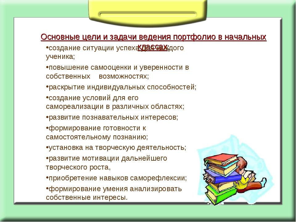 Основные цели и задачи ведения портфолио в начальных классах: создание ситуац...
