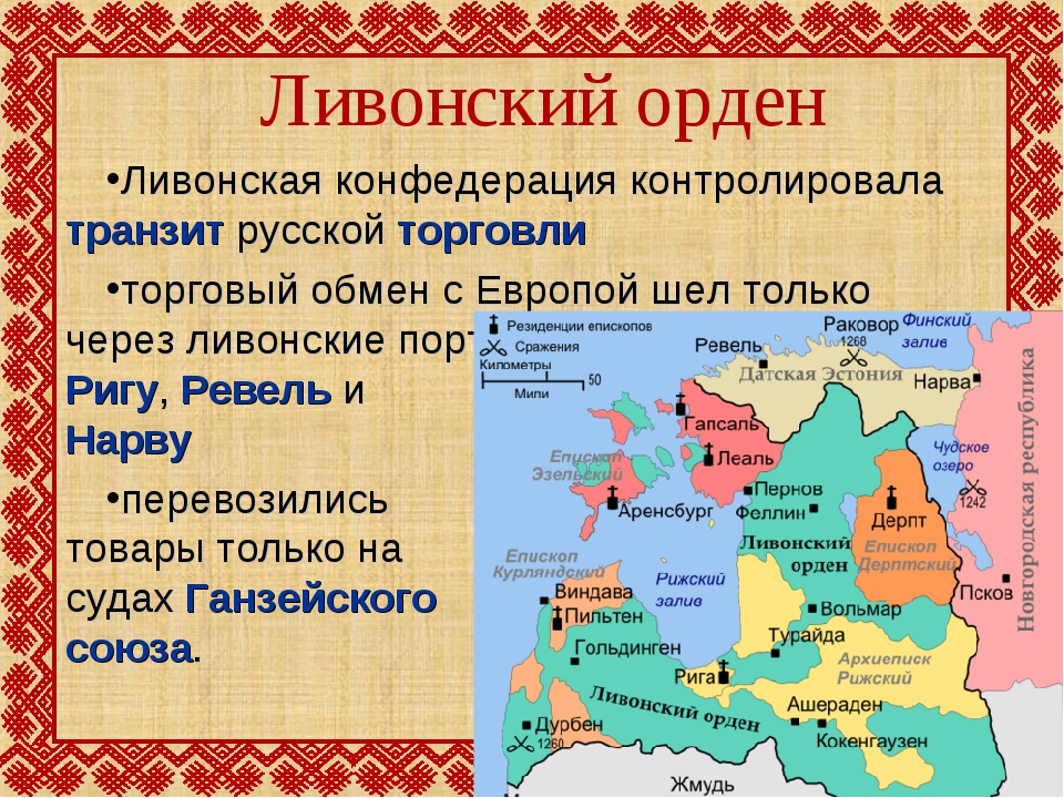 Ливонский орден Ливонская конфедерация контролировала транзит русской торговл...