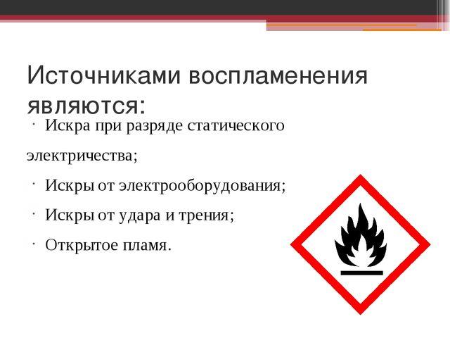 Источниками воспламенения являются: Искра при разряде статического электричес...