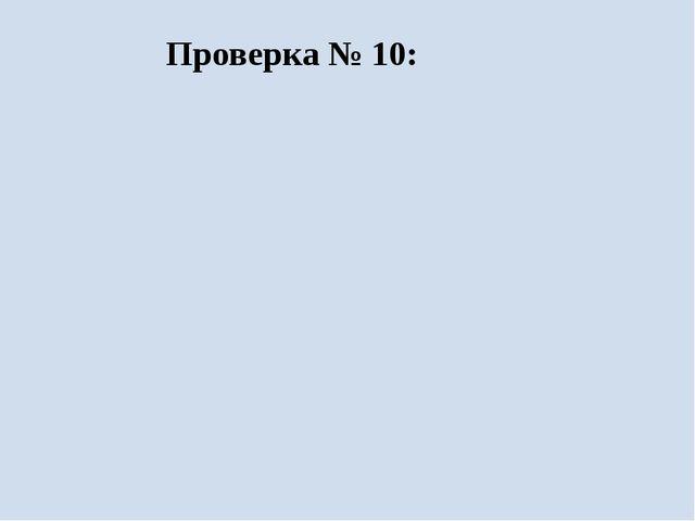 Проверка № 10: