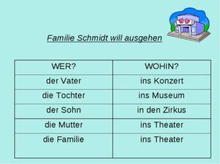 Familie Schmidt will ausgehen WER?WOHIN? der Vaterins Konzert die Tochteri