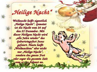 """Weihnacht heißt eigentlich """"Heilige Nacht"""". Gemeint ist die Nacht vom 24 auf"""